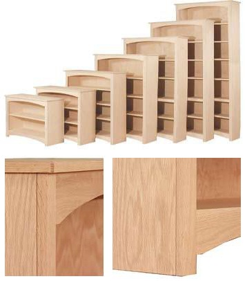 Shaker Bookcase Collection Unfinished Furniture