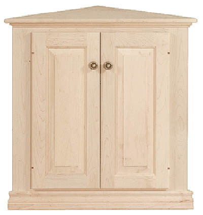 Captivating UNFINISHED TRADITIONAL TWO DOOR CORNER CABINET  26