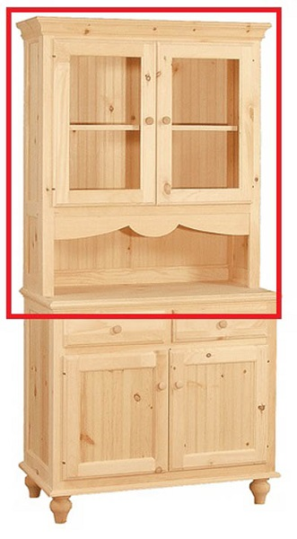 UNFINISHED TWO DOOR HUTCH  W/ SERVER AREA - 38