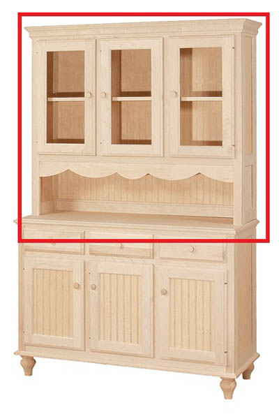 UNFINISHED THREE DOOR HUTCH W/ SERVER AREA - 50