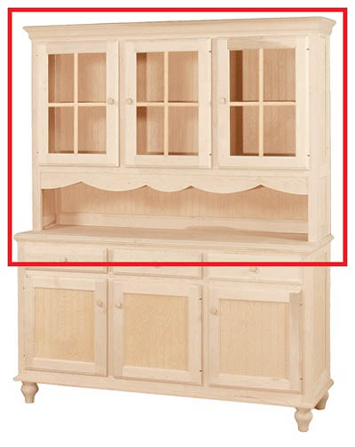 UNFINISHED THREE DOOR HUTCH W/ SERVER AREA - 61