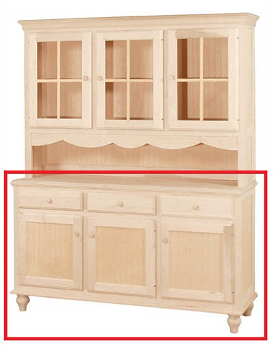UNFINISHED THREE DOOR / THREE DRAWER BUFFET - 60.5