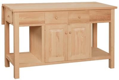 UNFINISHED KITCHEN ISLAND W/ DROP LEAF: Unfinished Furniture