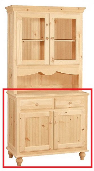 UNFINISHED TWO DOOR / TWO DRAWER BUFFET - 37.5
