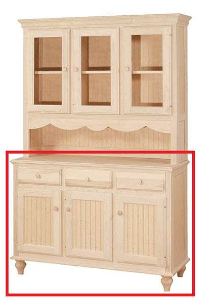 UNFINISHED THREE DOOR / THREE DRAWER BUFFET - 49.5
